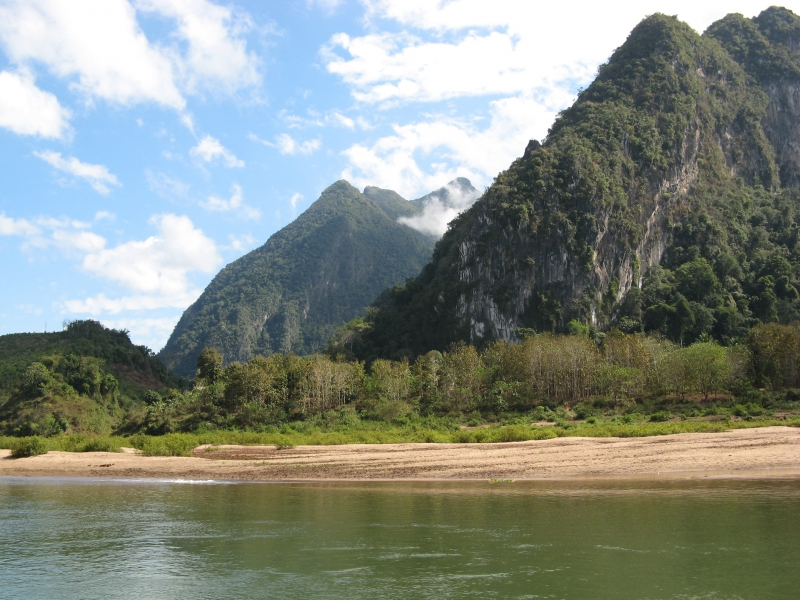 Limestone Mountains Along The Nam Ou River