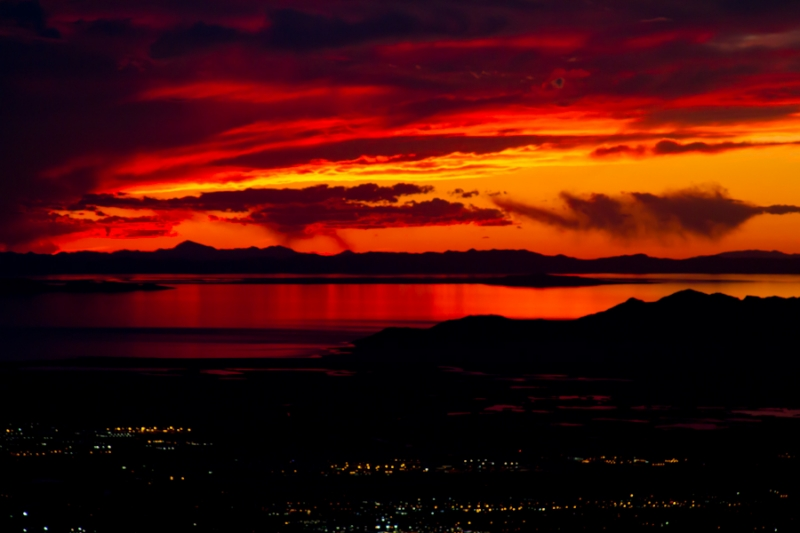 Great Salt Lake Fire In The Sky