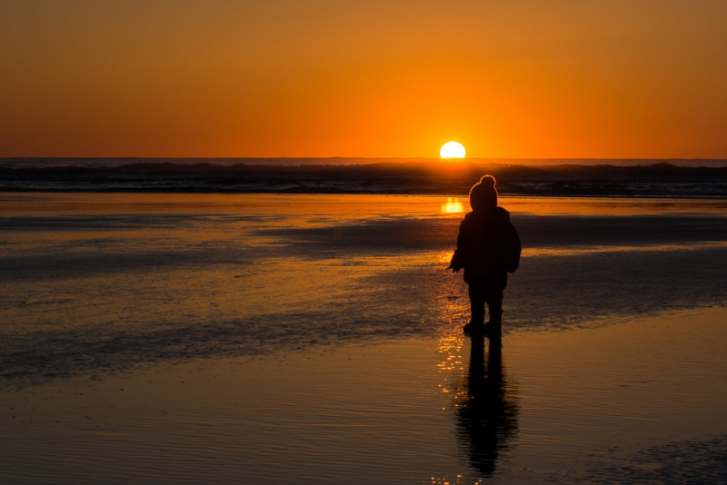 A Child's Sunset Moment
