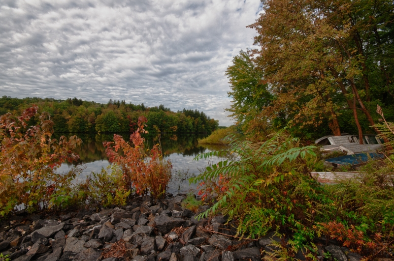 Fall, Rocks, Trees, Boats, Reservoir, Sky, Clouds, Hdr