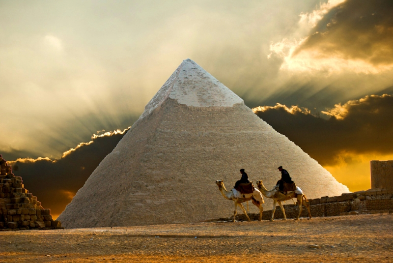 Pyramid Of Giza At Sunset