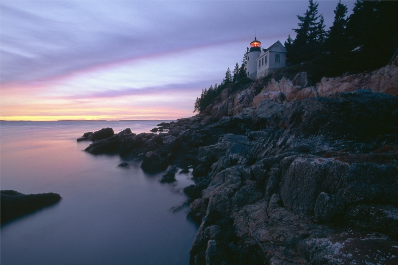 Bass Harbor Coastal Scene With Lighthouse At Sunset, Maine
