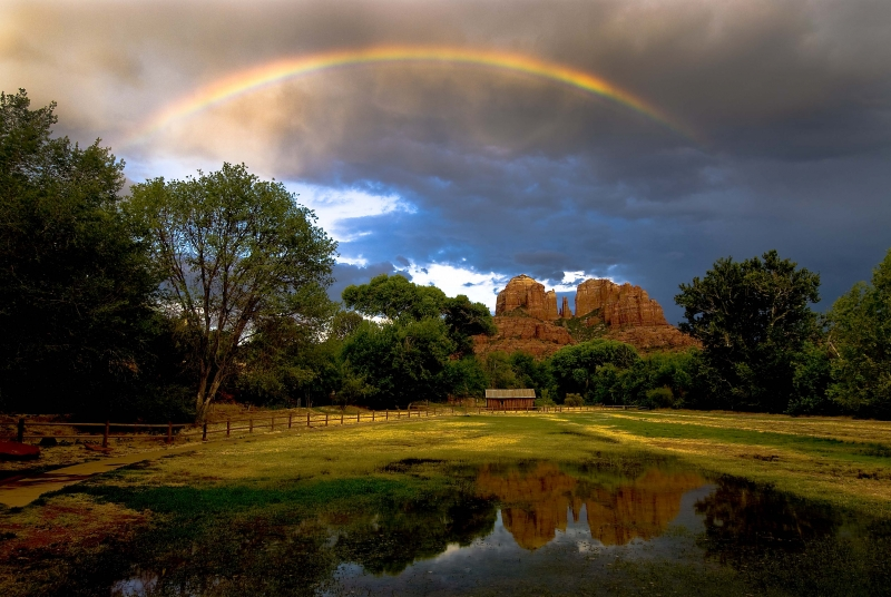Catherdral Rock Rainbow And Reflection