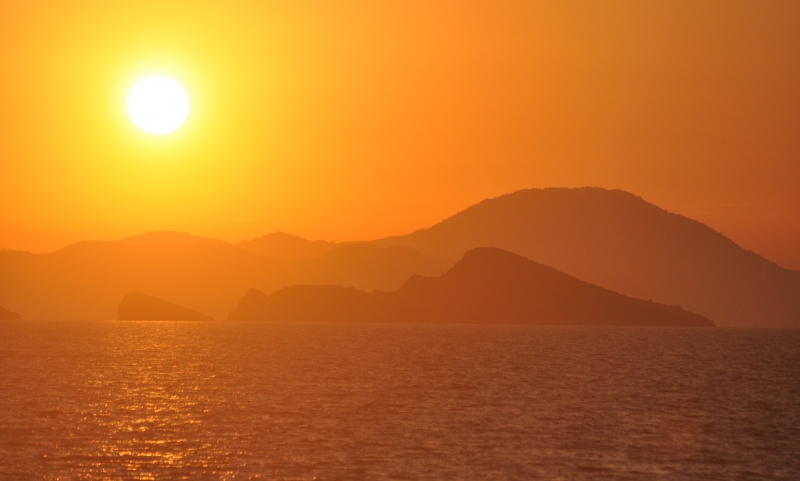 Sunset On The Aegean Sea Of Turkey
