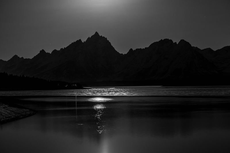 Full Moon Setting Over Teton Range