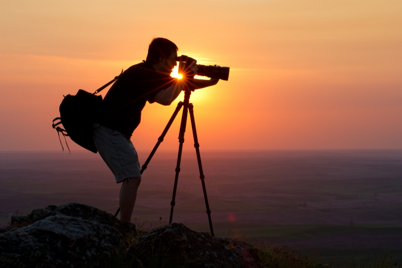 Palouse Photographer At Sunset