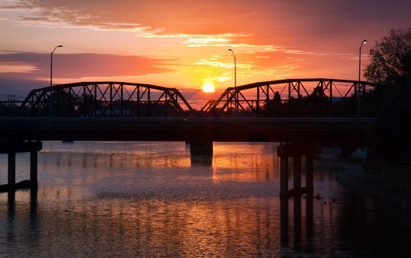 Waco Bridge At Sunrise