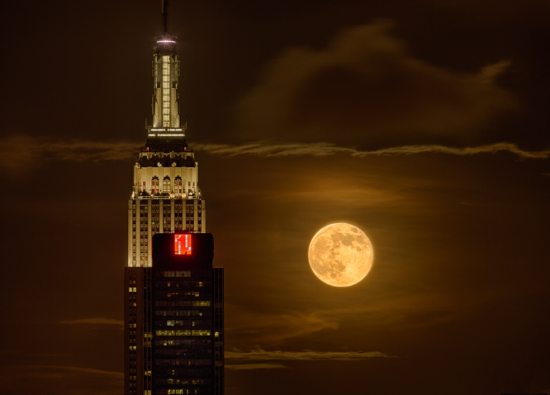 Supermoon Rising Behind The Empire State Building