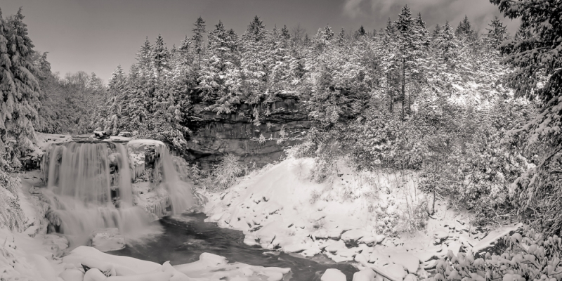 Blackwater Falls Winter Panorama B&w