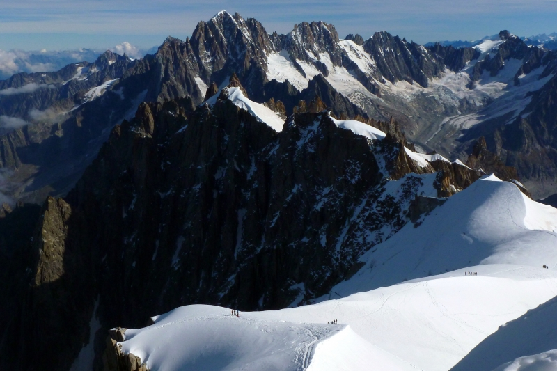 Hikers In The High Snowfields Of The French Alps