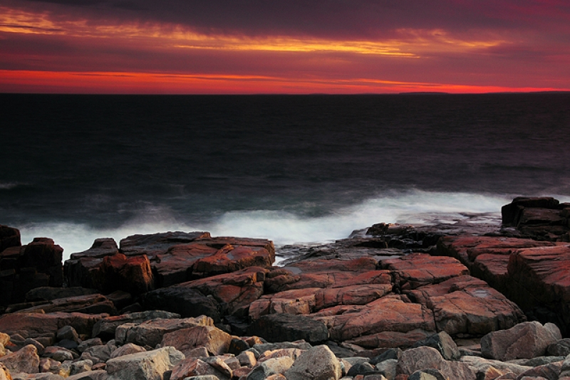 Sunset, Rocks, And Surf At The Schoodic Peninsula