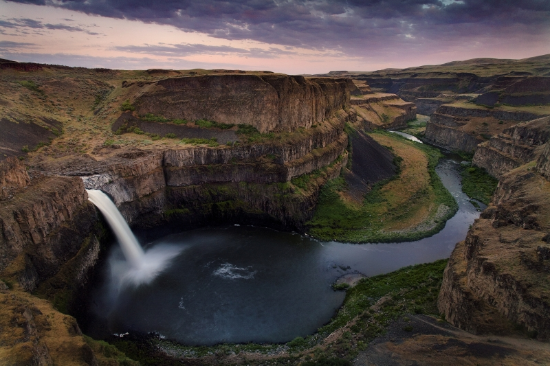 Palouse Falls Under Pink Skies