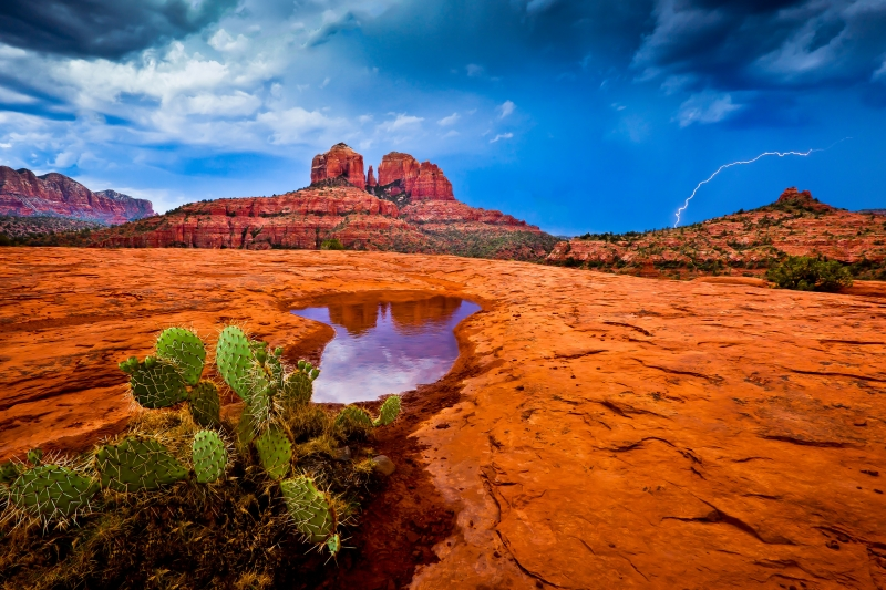 Reflections And Lightning In Sedona