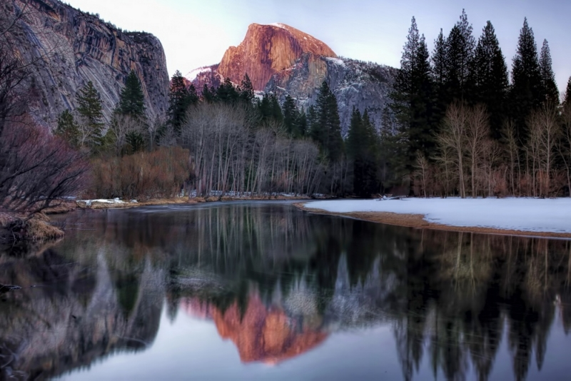 Half Dome Glow Reflected