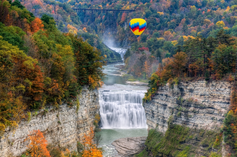 Hot Air Balloon Over The Middle Falls