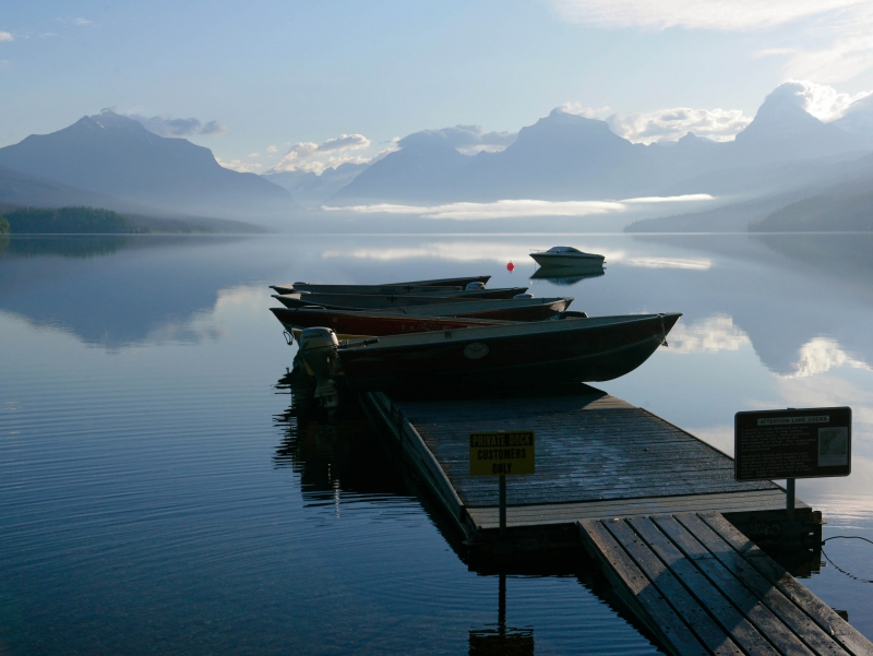 Boats Afloat On Lake Mcdonald.