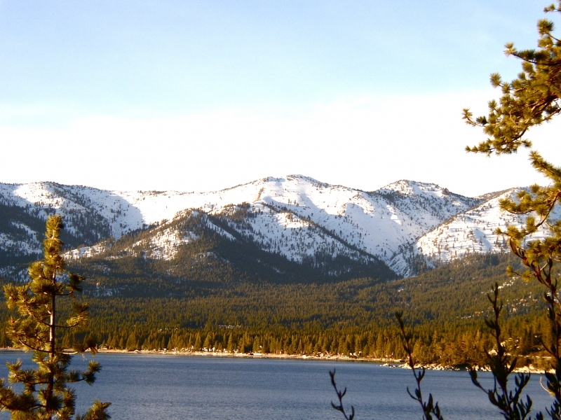 Snow-covered Lake Tahoe Mountains
