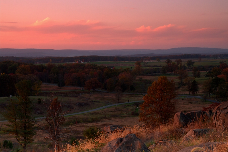 Gettysburg Battlefied At Sunset