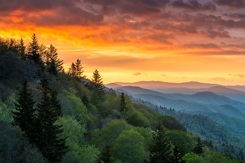 Great Smoky Mountains National Park Nc Sunrise Cherokee Rising
