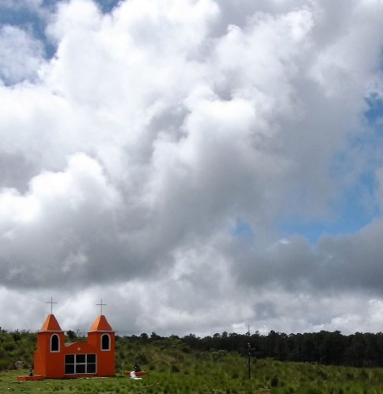 Orange Chapel With Clouds