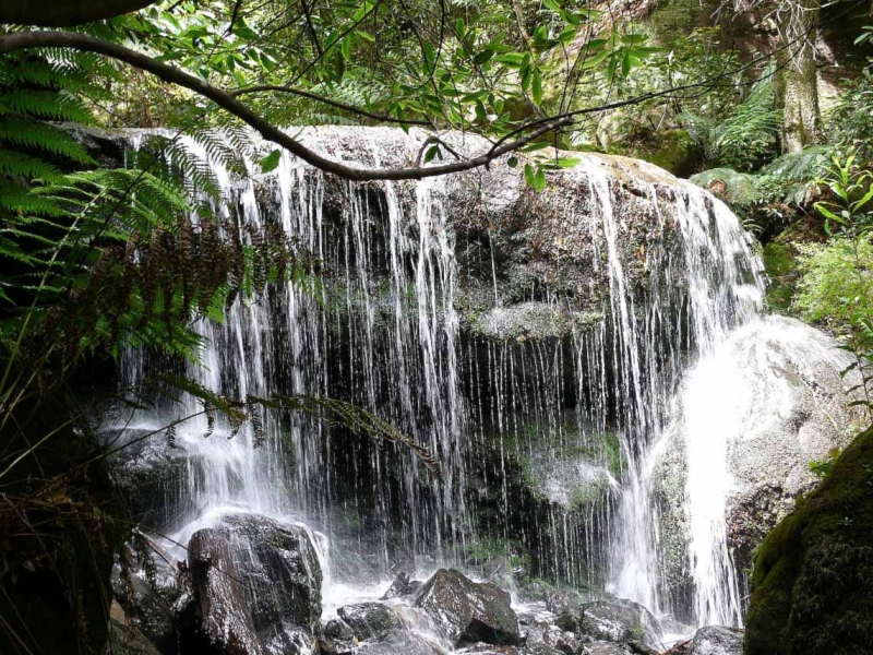 A Small Cascade At The Base Of The Bridal Veil Falls In Leura, Nsw