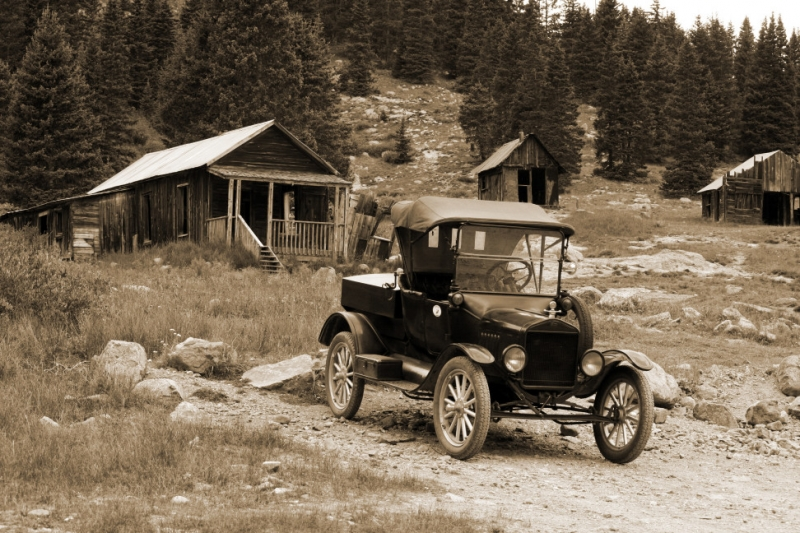 Ghost Town With Old Car