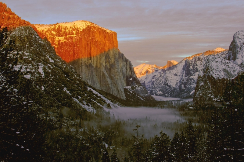 Winter Sunset Yosemite