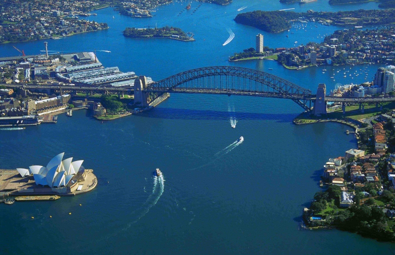 The Sydney Harbor Bridge And Opera House As Seen From A Helicopter