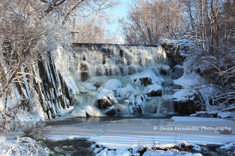 Beautiful Waterfall After Snowfall
