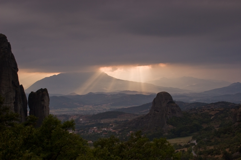 Sunset From Monastery In Greece