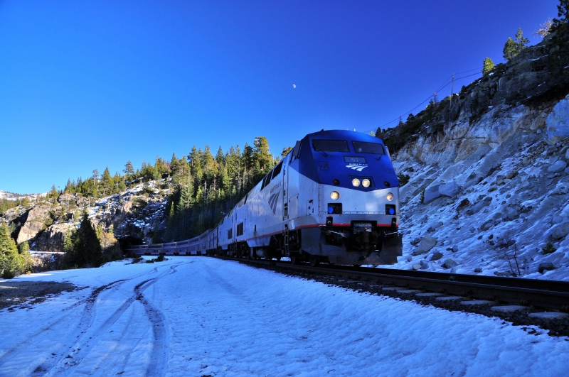 Westbound Amtrak California Zephyr At Yuba Pass, Central Sierras, Ca