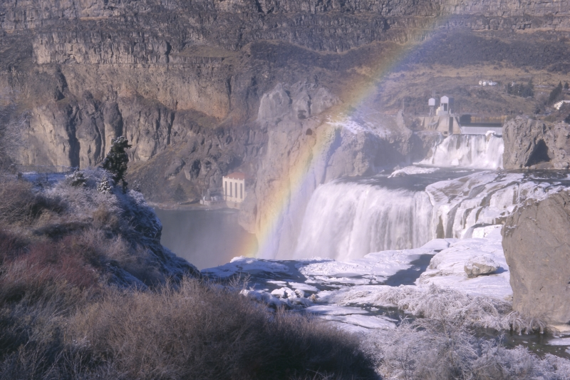 Shoshone Falls With Rainbow