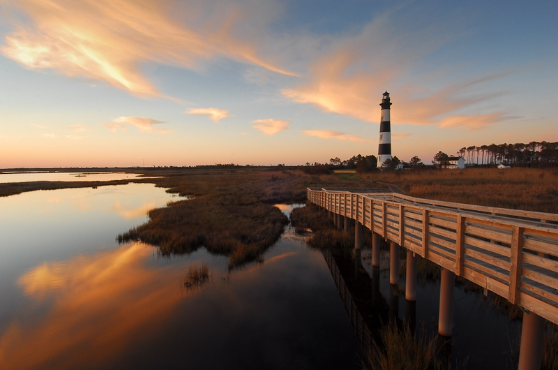 Sunrise Reflections At Bodie Island Lighthouse