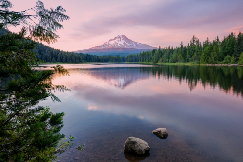 Summer Sunset At Trillium Lake