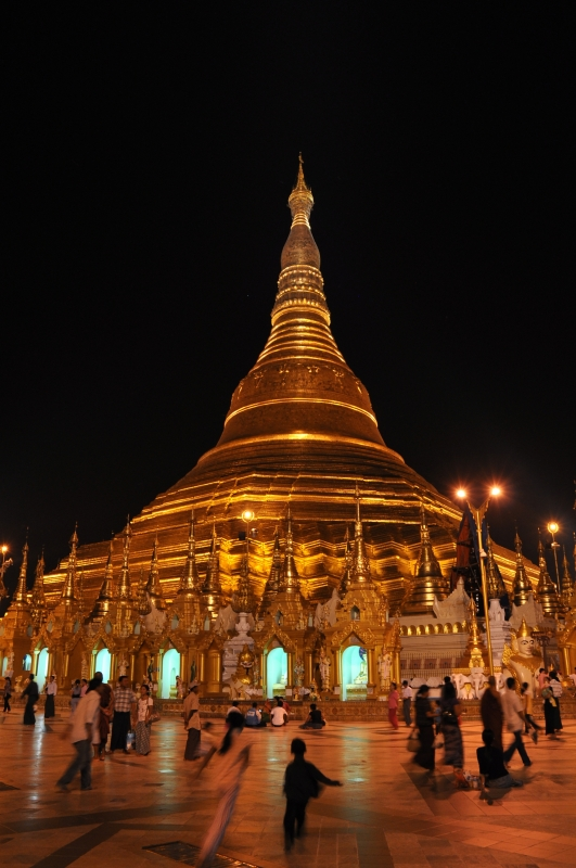 Family Gathering In Front Of Swedagon Pagoda