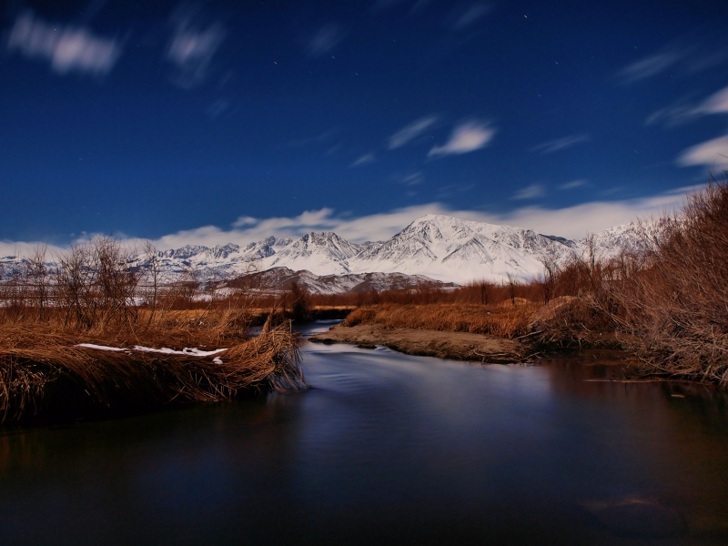 Owens River By Moonlight