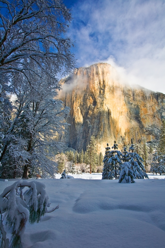 California, Yosemite National Park, El Capitan, California, Winter, Snow