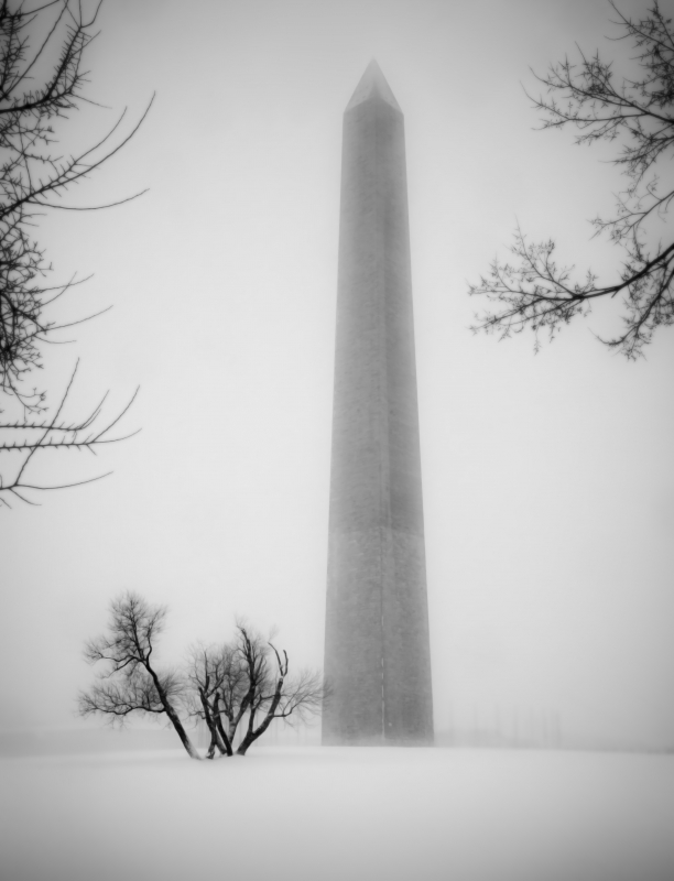 Washington Monument In Snow And Fog