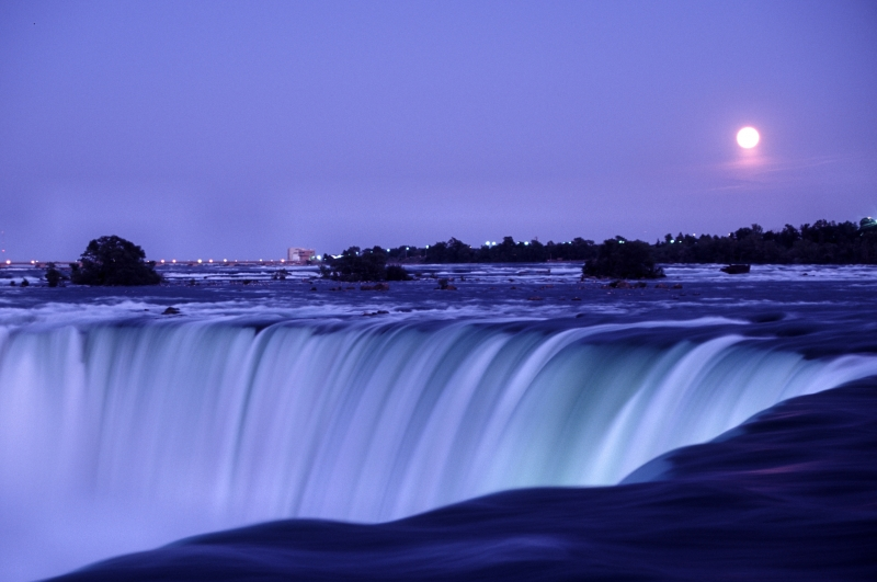 Horseshoe Falls And Full Moon