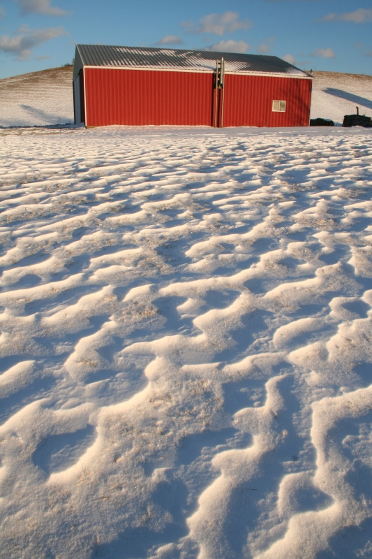 Wind-sculpted Snow And Red Farm Building
