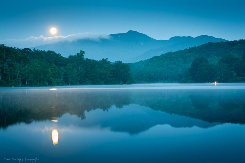 Full Moon Blue Ridge Mountain Reflections