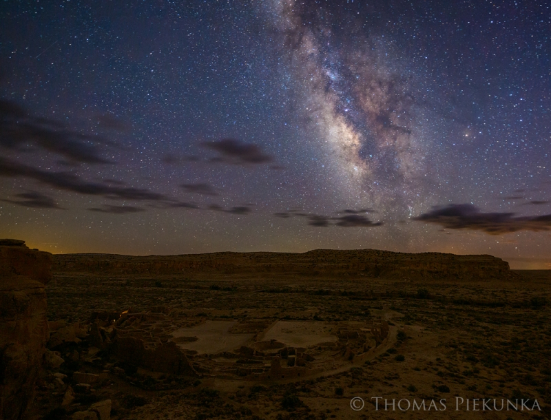 Pueblo Bonito And Milky Way From Mesa Overlook