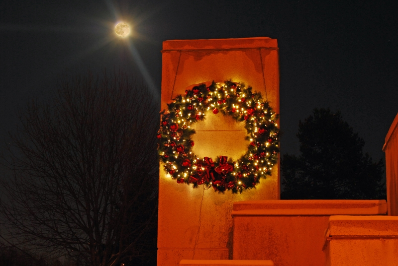 Full Moon Over Wreath Fountain