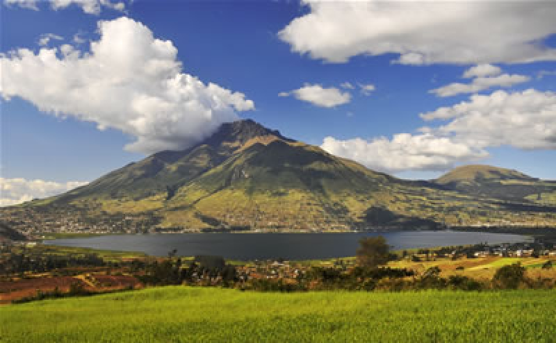 San Pablo Lake And Imbabura Volcano