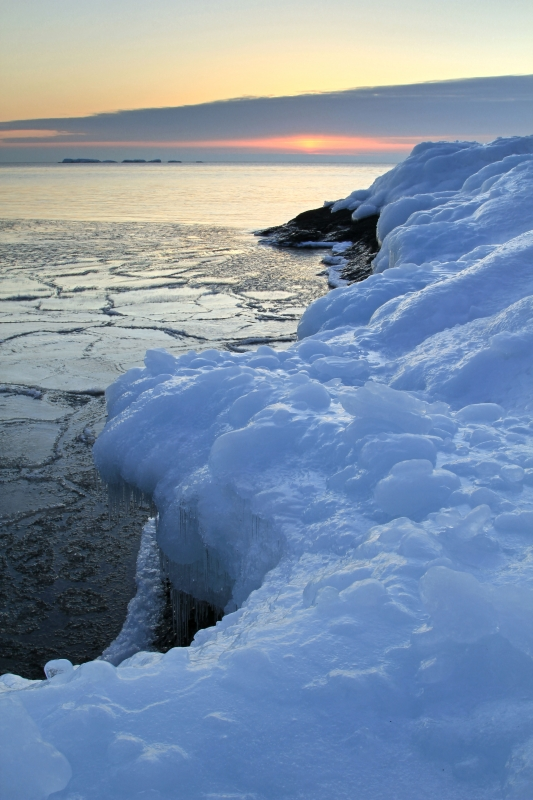 Sunrise Over Lake Superior Ice