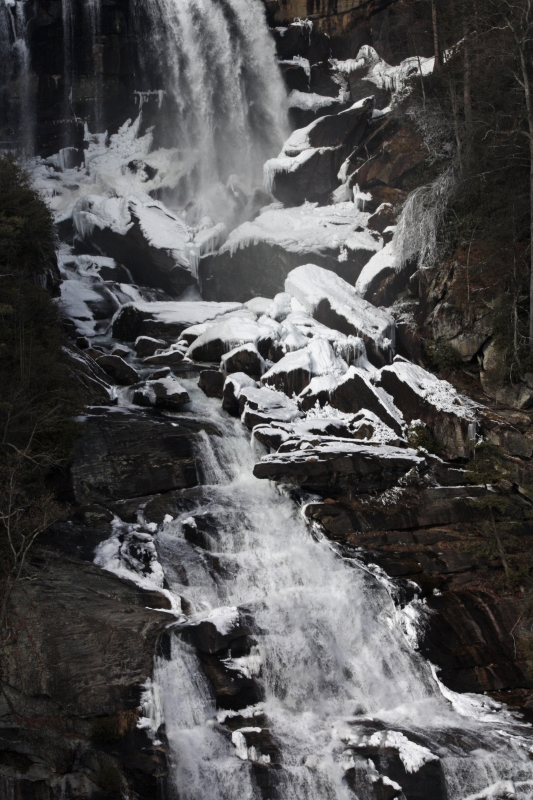 White Water Falls In Winter