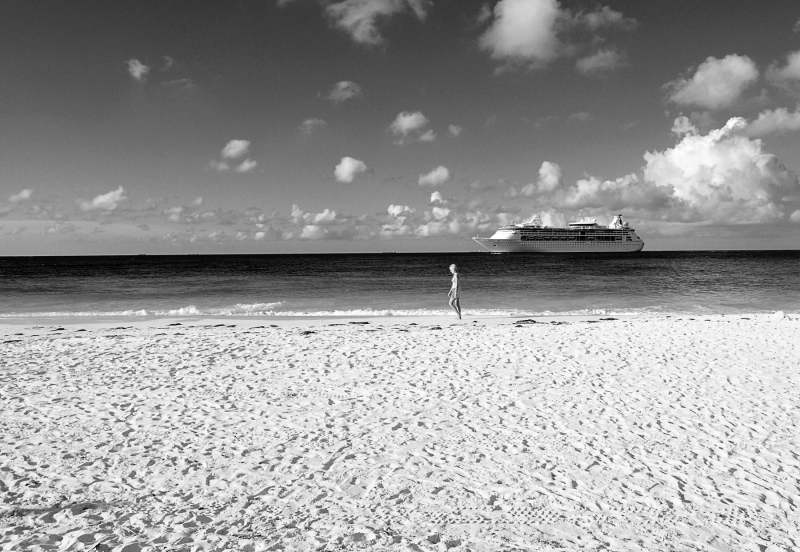 Aruba Beach In Black And White