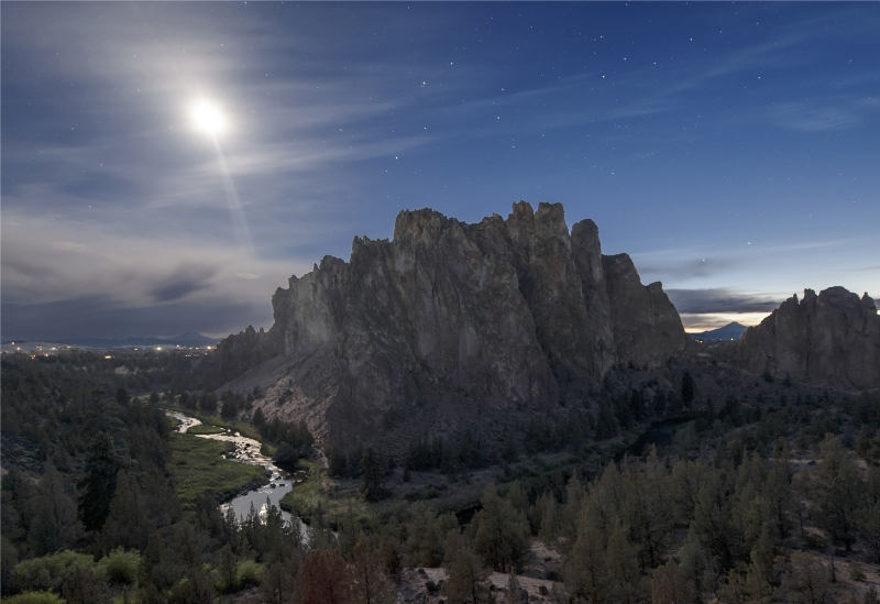 Smith Rock State Park On A Moon Lit Night