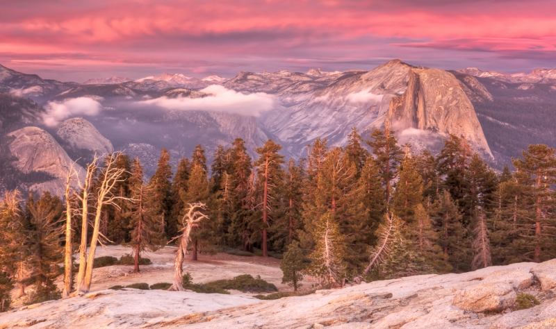 Half Dome Sunset From Sentinel Dome