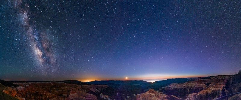 Moonset And Milky Way Panorama Over Cedar Breaks National Monument